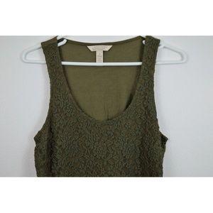 Banana Republic Shirt Tank Green Taupe Floral Lace